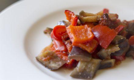 Melanzane e peperoni – Gestoofde aubergines en paprika