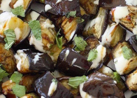 melanzane arrostite con tahina – geroosterde aubergine met tahin
