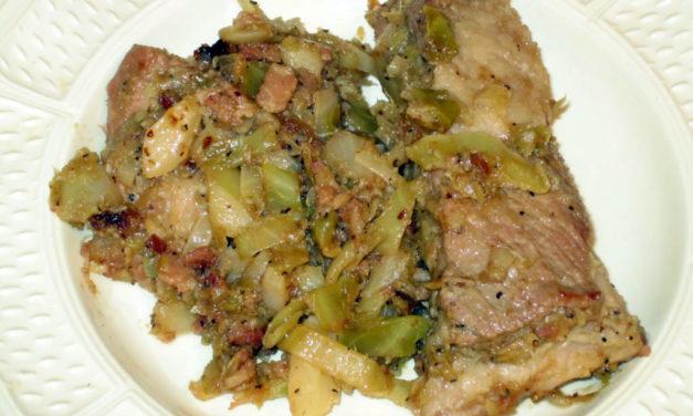 Verze sofegae con salcicce – Gestoofde kool met saucijzen