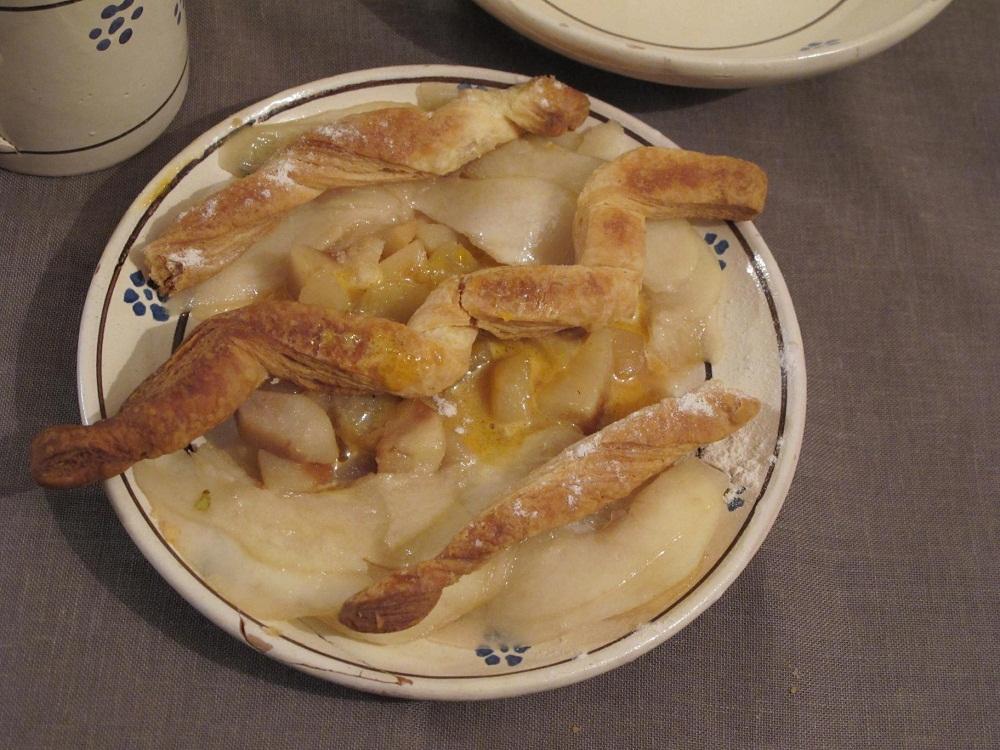 Pere cotte e crude con zabaione a moscato – Zabaione van moscato met gekonfijte en verse peren