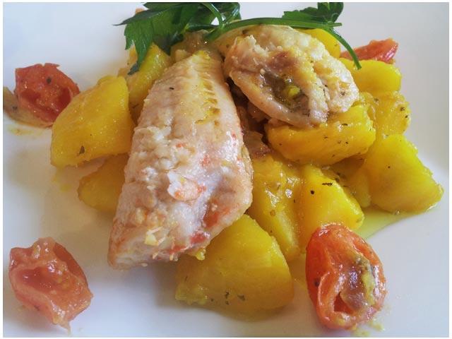 Gallinelle di mare con patate e zafferano – Rode poon met aardappelen en saffraan
