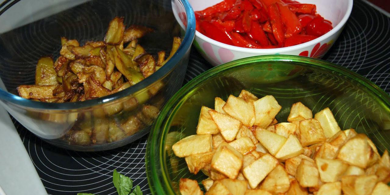 Zimbatò – Gerecht met paprika's, aubergines en aardappelen