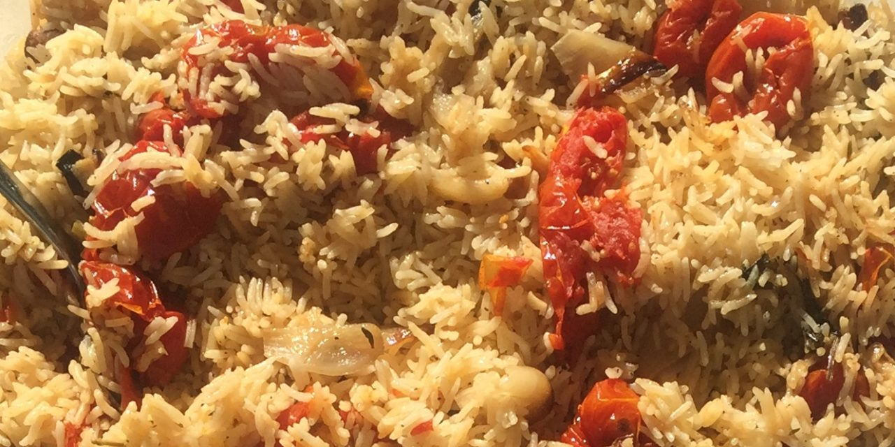 Riso al forno con pomodori e aglio canditi- In de oven gebakken rijst met gekonfijte tomaten en knoflook